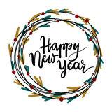 Happy New Year hand lettering greeting card. Modern calligraphy. Christmas Wreath. Vector Illustration stock illustration