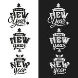 Happy New Year hand lettering Set Stock Images