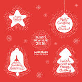 Happy New Year hand lettering Set Royalty Free Stock Photo