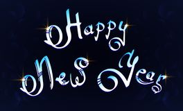 Happy New Year hand-lettering text on blue background vector illustration