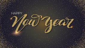 Happy new year, hand-lettering text of greetings with golden dust, shining glitter. Card with design of handwriting. Calligraphic inscription happy new year vector illustration