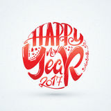 Happy new year 2017 hand-lettering text . Handmade vector calligraphy for your design Stock Image