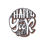 Happy new year 2017 hand-lettering text . Handmade vector calligraphy for your design Stock Photos