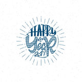 Happy new year 2017 hand-lettering text . Handmade vector calligraphy for your design Royalty Free Stock Photo