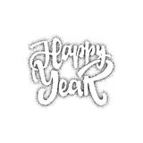 Happy new year hand-lettering text . Handmade vector calligraphy for your design. Happy new year - Badge drawn by hand, using the skills of calligraphy and Stock Photos
