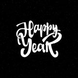Happy new year hand-lettering text . Handmade vector calligraphy for your design. Happy new year - Badge drawn by hand, using the skills of calligraphy and Royalty Free Stock Image