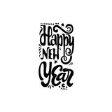 Happy new year 2017 hand-lettering text . Handmade vector calligraphy for your design. Happy new year 2017- Badge drawn by hand, using the skills of calligraphy Royalty Free Stock Photos