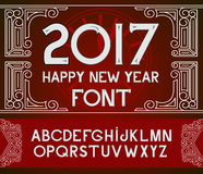 Happy New Year 2017 hand-lettering text on red pattern background. Handmade vector calligraphy collection Stock Photos