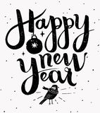 Happy New Year hand made lettering illustration. Cute Happy New Year hand made lettering, greeting card. Vector illustration Royalty Free Stock Images