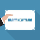Happy New Year. Hand with sheet of paper with long shadow stock illustration