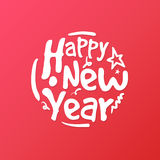 Happy New Year hand written lettering circle. Modern brush calligraphy for greeting card, poster, photo overlay.  on red background. Vector illustration Royalty Free Stock Photos