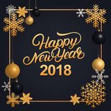 Happy New Year 2018 hand written lettering with golden decoration ornament. Stock Images