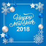 Happy New Year 2018 hand written lettering with silver decoration ornament. Merry Christmas typography in spanish. Frame with snowflakes, stars and balls Stock Photography
