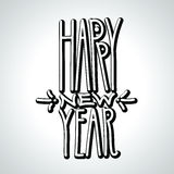 Happy New Year handdrawn black linear volumetric inscription on Stock Image