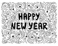 Happy new year- handdrawn illustration. Handwritten Christmas wishes for holiday greeting cards. Handwritten lettering. Winter Hol. Iday. Handdrawn lettering stock illustration