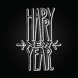 Happy New Year handdrawn volumetric white linear inscription on Royalty Free Stock Images