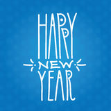 Happy New Year handdrawn white linear inscription on blue backgr. Ound. Modern calligraphy sign. Label for your web business retail or greeting. Snow seamless Royalty Free Stock Image