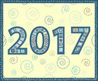 Happy New Year 2017 handmade. Christmas vector illustration Stock Photography