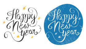 Happy New Year 2016 handmade greeting card design. Vector illust. Ration. 2016 year handdrawn lettering on vintage grunge background Royalty Free Stock Photo