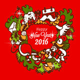 Happy New Year 2016 with handmade sketch.  Royalty Free Stock Image
