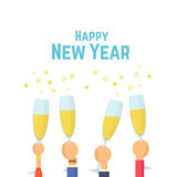 Happy New Year. Hands with glasses of champagne. Flat Vector illustration.  Stock Photo
