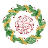 Happy New Year handwriting calligraphy Lettering text with glitter christmas wreath vector greeting illustration Royalty Free Stock Photography