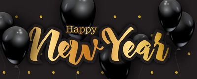 Happy New Year handwriting letters, gold glitter dots background. Black balloons, luxury greeting card concept, vector illustration. 2018 party celebration Stock Photos