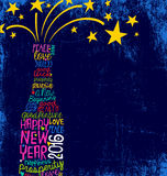 Happy New Year 2016 handwritten champagne bottle design Stock Images