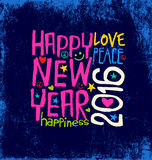 Happy New Year 2016 handwritten design. Happy New Year 2016 retro design with blue grunge background Stock Photography