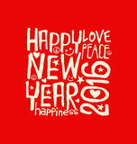 Happy New Year 2016 handwritten design. Happy New Year 2016 retro design with red background vector illustration