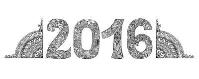 Happy New Year 2016 handwritten, mehendi Stock Images
