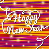 Happy New Year handwritten white swirl lettering. On greeting card made from bundle of bright laces on the paper with snowflakes. With shining glares. With free Stock Images