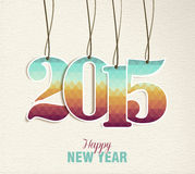 Happy New Year 2015 hang tag vintage card Stock Image