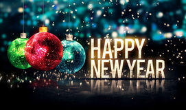Happy New Year Hanging Baubles Blue Bokeh Beautiful 3D. Digital Art royalty free stock photography