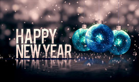 Happy New Year Hanging Baubles Blue Bokeh Beautiful 3D Grayscale. Background Stock Photography