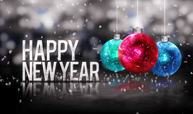 Happy New Year Hanging Baubles Blue Red Bokeh Beautiful 3D. Grayscale Background Stock Photo