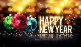 Happy New Year Hanging Baubles Gold Bokeh Beautiful 3D. Digital Art Stock Illustration