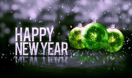 Happy New Year Hanging Baubles Green Bokeh Beautiful 3D. Grayscale Background Stock Photo