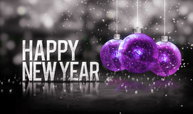 Happy New Year Hanging Baubles Purple Bokeh Beautiful 3D Stock Photography