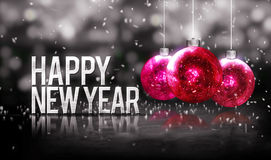 Happy New Year Hanging Baubles Red Bokeh Beautiful 3D Grayscale. Background Stock Images