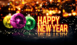 Happy New Year Hanging Baubles Yellow Bokeh Beautiful 3D. Digital Art stock illustration