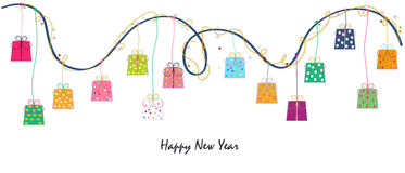 Happy new year hanging colorful gift box vector background. Vector Stock Photography