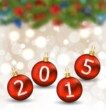 Happy new year in hanging glass ball Royalty Free Stock Images
