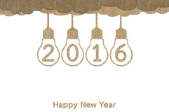 Happy New Year 2016. Hanging in lightbulb design from sack vector illustration