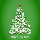 Happy New Year Happiness Greeting Card. Green. Happy New Year Happiness Greeting Card. Merry Christmas and happy new year lettering, vector illustration green royalty free illustration