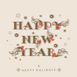Happy New Year and Happy Holidays celebration concept. Happy New Year 2015 and Happy Holidays celebration poster, banner or flyer with beautiful text and ribbon stock illustration