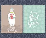 Happy New year, Happy Holidays grreting card. Cute white bear with gift.Hand drawn Christmas Lettering. Vector Illustration. Happy New year, Happy Holidays Stock Photography