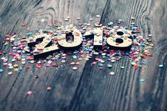 Happy New Year 2018. On abstract background Stock Images