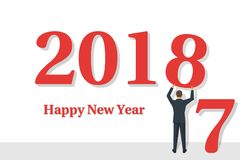 Happy New Year 2018. Businessman holds a number 8 in hands. Beginning of new year. Text congratulations, greetings. Isolated on white background. Vector Stock Photography