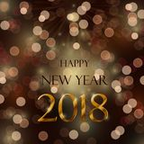 Happy new year 2018. Celebration concept with bokeh ligths and stylize golden and brown text on brown background Stock Photos